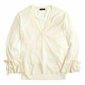 J.Crew Drawstring Sleeve ivory Merino Wool sweater